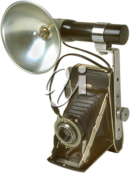 Royalty Free Photo of a Vintage Camera with a Flash