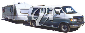 Royalty Free Photo of a Van Towing a Trailer