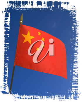 Royalty Free Photo of a China Flag with a Blue Sky Background