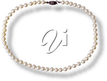 Royalty Free Photo of a Pearl Necklace with a Shadow