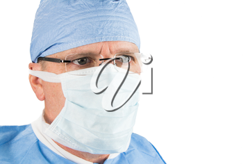 Close up of Surgeon with Glasses and Mask