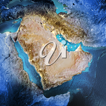 Middle East. Elements of this image furnished by NASA. 3D rendering