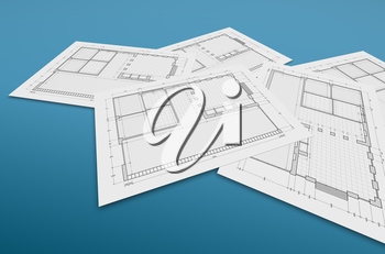 Blueprint on blue. High quality 3d rendering