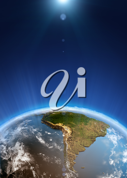 South America space view. Elements of this image furnished by NASA 3d rendering
