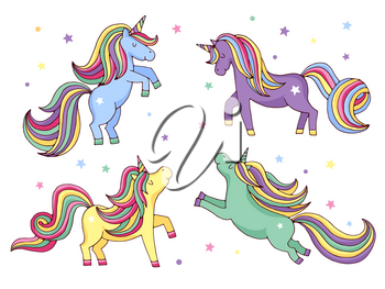 Funny cartoon unicorn. Vector illustrations set isolate on white background. Unicorn with color tail and mane, magic animal unicorn
