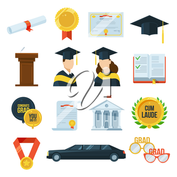 Vector icons set of graduation student party. Gown and cap, diplomas. Illustration in flat style. Education in university or college icons, graduate college certificate