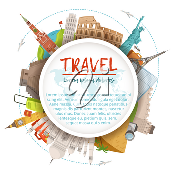 Different world landmarks in circle shape. Design template with place for your text. World landmark architecture kremlin and coliseum illustration