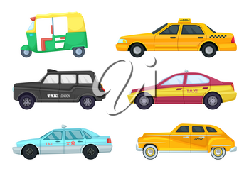 Taxi cars in different cities. Transport for fast traveling. Vector illustrations set of retro and modern taxi cars