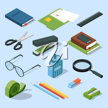 Books, paper documents in folders, and other base stationary elements set. Vector isometric office equipment stationary element scissor and stapler illustration