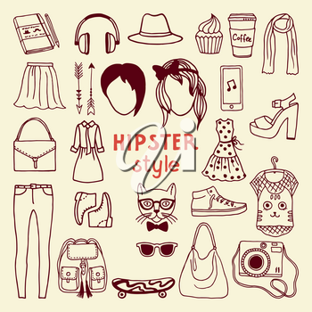 Funky hipster style elements of female. Different stylish accessories. Hipster woman accessory, vector fashion object collection illustration