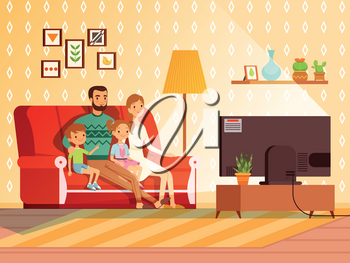Lifestyle of modern family. Mother, father and children watching tv. Family father mother and children watch tv. Vector illustration