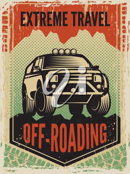 Design template of poster in retro style with suv big car. Off road machine. Transportation car 4x4 suv, adventure auto car. Vector illustration