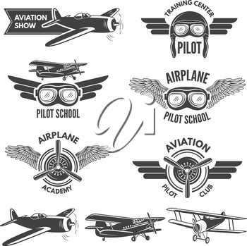 Labels set with illustrations of vintage airplanes. Travel pictures and logo for aviators. Aviation flight badge, airplane emblem, pilot school logo vector