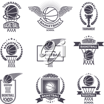 Sport labels for basketball club. Vector badges for champions. Basketball label sport badge, banner and logo tournament illustration