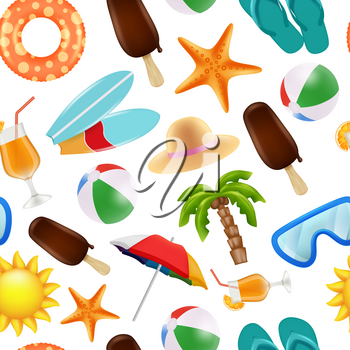 Summer seamless pattern. Various symbols of summer time. Vector travel and vacation summertime, starfish cocktail and ball illustration