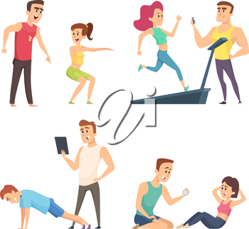 Gym training. Set of cartoon sport characters. Vector training exercise, instructor trainer sporty illustration