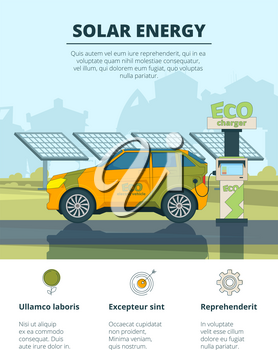 Infographics of electro cars. Eco conceptual pictures with electronic automobiles. Eco car on solar energy, ecology and environment. Vector illustration