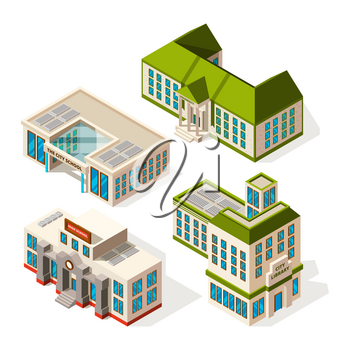 School buildings. Isometric 3d pictures of school or institute buildings. Vector building isometric, school architecture, university college house illustration