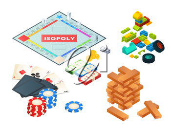 Board games and tools. Various tools for board games. Dices, pawns and others. Block pyramid wooden, constructor and chip. Vector illustration