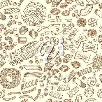 Seamless pattern of traditional italian food, pasta and macaroni. Vector hand drawn illustrations macaroni traditional, restaurant italian background