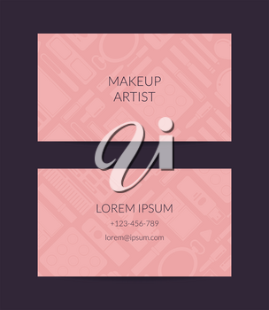 Vector business card template for beauty brand or makeup artist with transparent monochrome flat style makeup and skincare background illustration