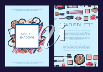 Vector card, flyer, brochure template for beauty brand, presentation with hand drawn makeup background illustration