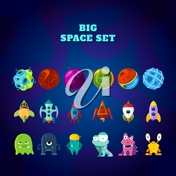 Big space set. Set of space elements. planets, rockets and monsters. Vector space monster and planet, spaceship and rocket illustration