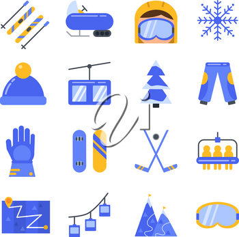 Accessories of winter sport. Vector icon set in flat style. Illustration of winter sport ski and snowboard