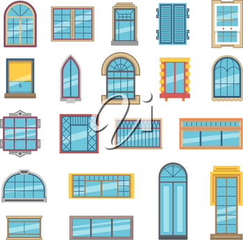 Exterior set of different plastic or wooden windows for apartment. Collection of window frame interior plastic for apartment room, vector illustration