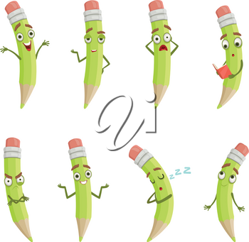Illustrations of cartoon pencils with different emotions. Cartoon pencil funny character, emotion face drawing vector