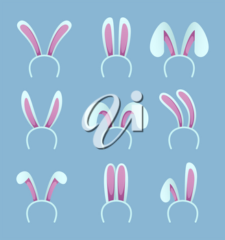 Set of rabbit ears. Easter masks in cartoon style. Bunny and rabbit ear for easter holiday. Vector illustration