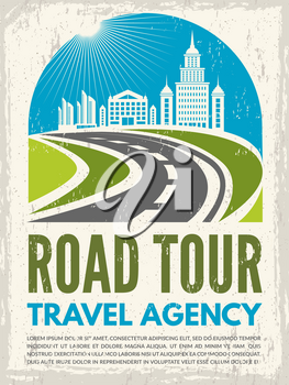 Retro poster with illustration of highway and urban landscape. Vector road tour, journey and route trip, roadway or highway