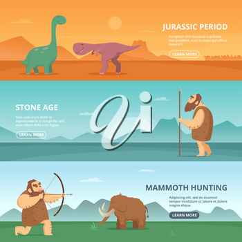 Horizontal banners set with illustrations of primitive prehistoric period peoples and different dinosaurs. Vector dinosaur in jurassic period banner