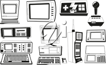 Monochrome illustrations of technician gadgets. Retro and vintage gadget, phone and radio electronic vector