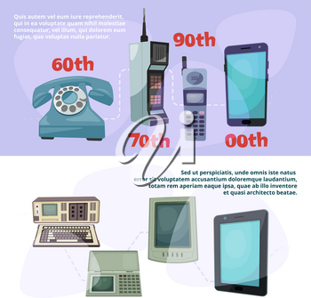 Visualization of technological progress. Banners set with different retro gadgets. Device gadget progress, retro phone and smartphone touchscreen. Vector illustration