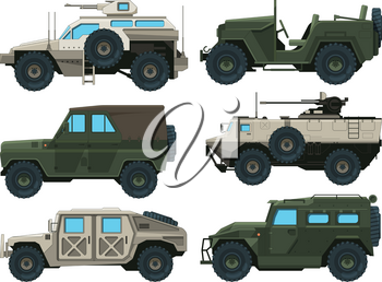 Army vehicles set. Colored vector illustrations. Military car armored with gun