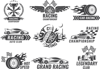 Monochrome labels and badges of sport labels. Racing cars speed, auto car race badge, vector illustration