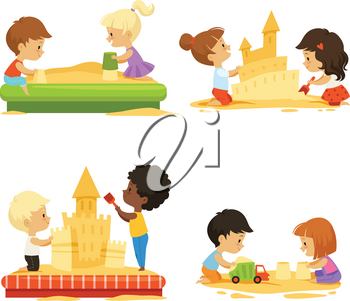 Summer time. Kids playing on beach with sand. Vector kids build castle, play in sand beach illustration