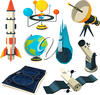 Astronomy vector symbols and pictures. Illustration of sky map, telescope and rocket