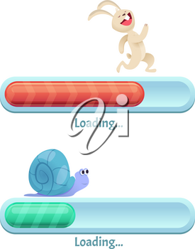 Fast download bar. Business concept of computer internet conection type quick rabbit and slow snail in dynamic poses vector cartoon ui. Illustration of upload internet, download website speed
