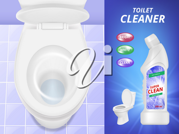 Toilet cleaner advertising. Fresh clean concept poster liquid detergent toilet sink and bathroom. Vector realistic picture bathroom antiseptic chemistry, detergent cleaning illustration