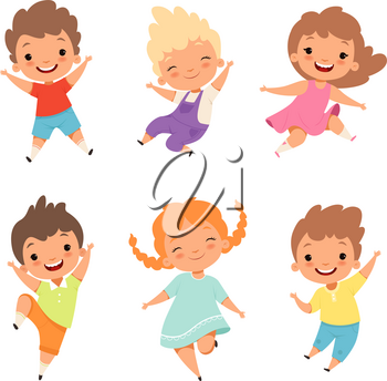 Jumping children. Cute surprised playing crazy happy kids male and female boys and girls vector cartoon characters. Female and male joy, young jumping illustration