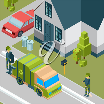 Garbage truck. Cleaning service removing trash from city street waste recycling concept vector isometric background. Illustration of garbage truck, removal rubbish urban transport
