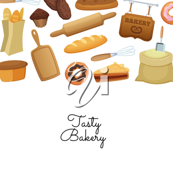 Vector cartoon bakery elements background with place for text illustration for bakery shop web banner