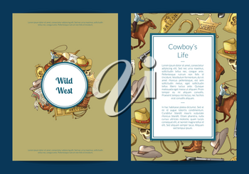 Vector hand drawn wild west cowboy elements card or flyer template illustration. Vintage banner and poster