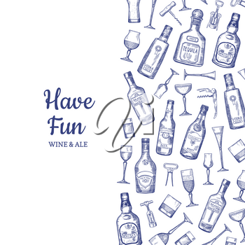 Vector banner and poster hand drawn alcohol drink bottles and glasses background illustration with place for text