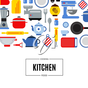 Vector flat style colored kitchen utensils background illustration with place for text