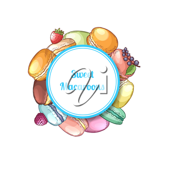 Vector hand drawn macaroons under circle with shadow and place for text illustration