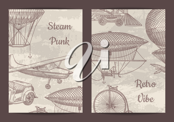 Vector card, flyer or brochure template for steampunk theme party or shop with hand drawn dirigibles, air baloons and vintage cars illustration