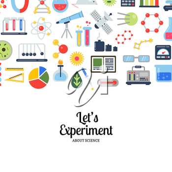 Vector flat style science icons background with place for text illustration